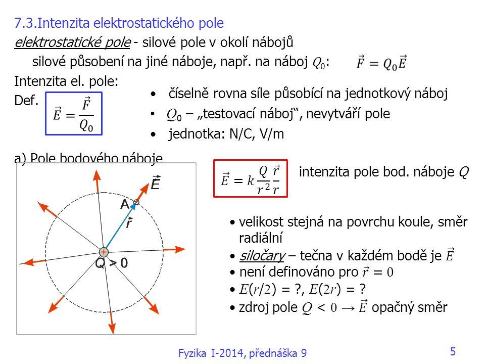 5 7.3.Intenzita elektrostatického pole elektrostatické pole - silové pole v okolí nábojů silové působení na jiné náboje, např. na náboj Q 0 : Intenzit