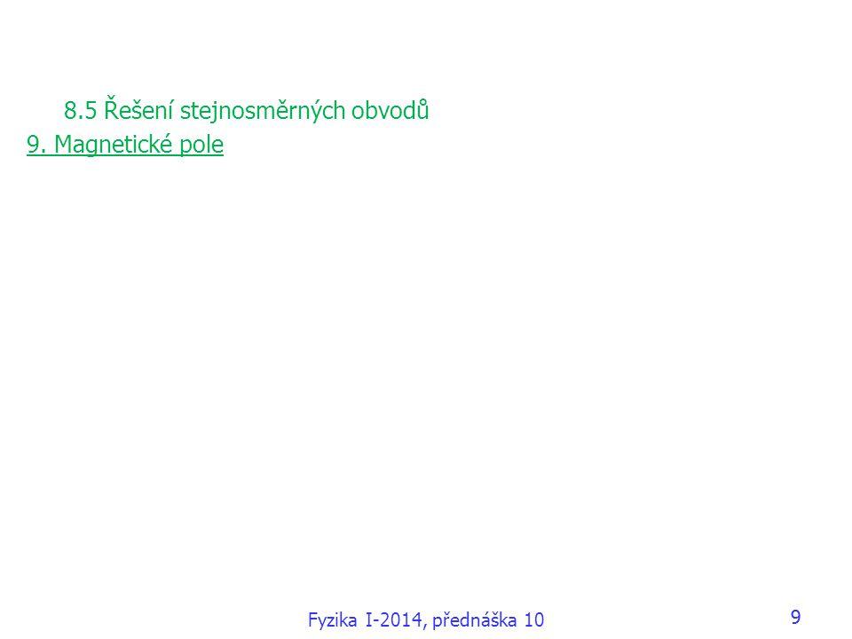 99 8.5 Řešení stejnosměrných obvodů 9. Magnetické pole Fyzika I-2014, přednáška 10