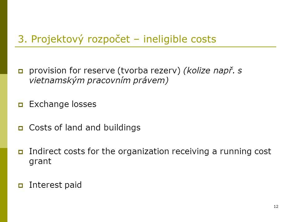 12 3. Projektový rozpočet – ineligible costs  provision for reserve (tvorba rezerv) (kolize např. s vietnamským pracovním právem)  Exchange losses 