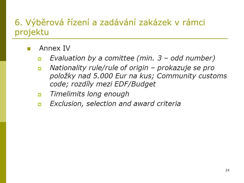 24 6. Výběrová řízení a zadávání zakázek v rámci projektu Annex IV  Evaluation by a comittee (min. 3 – odd number)  Nationality rule/rule of origin
