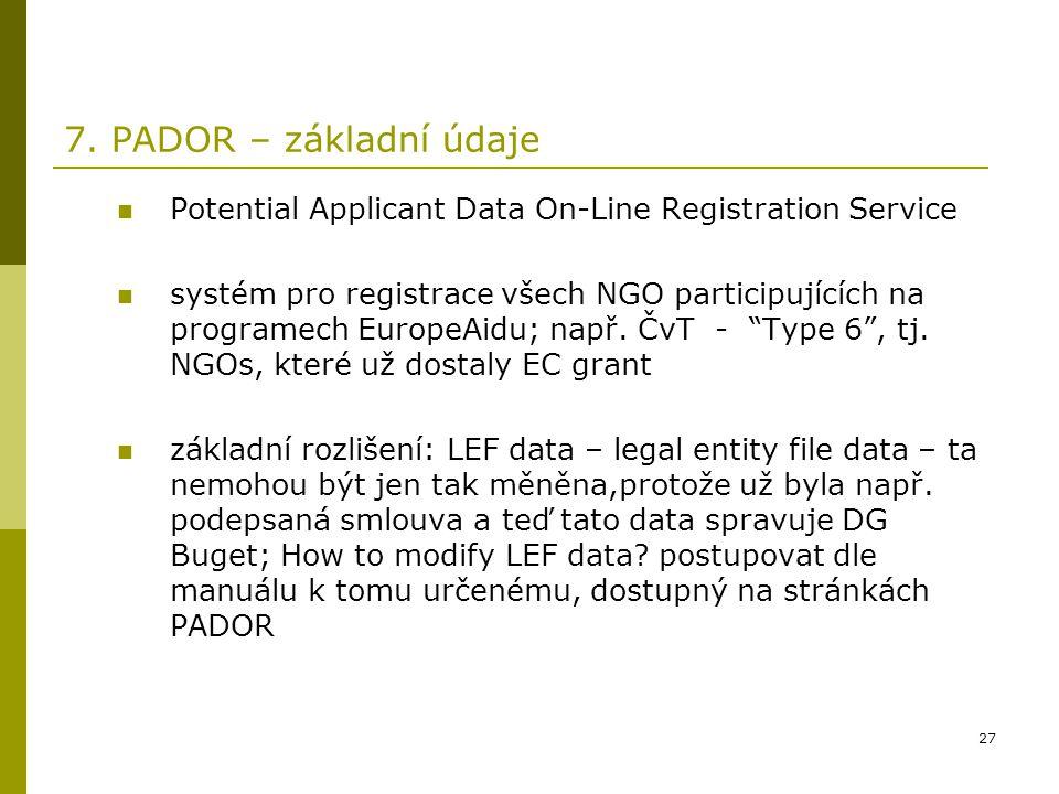 27 7. PADOR – základní údaje Potential Applicant Data On-Line Registration Service systém pro registrace všech NGO participujících na programech Europ