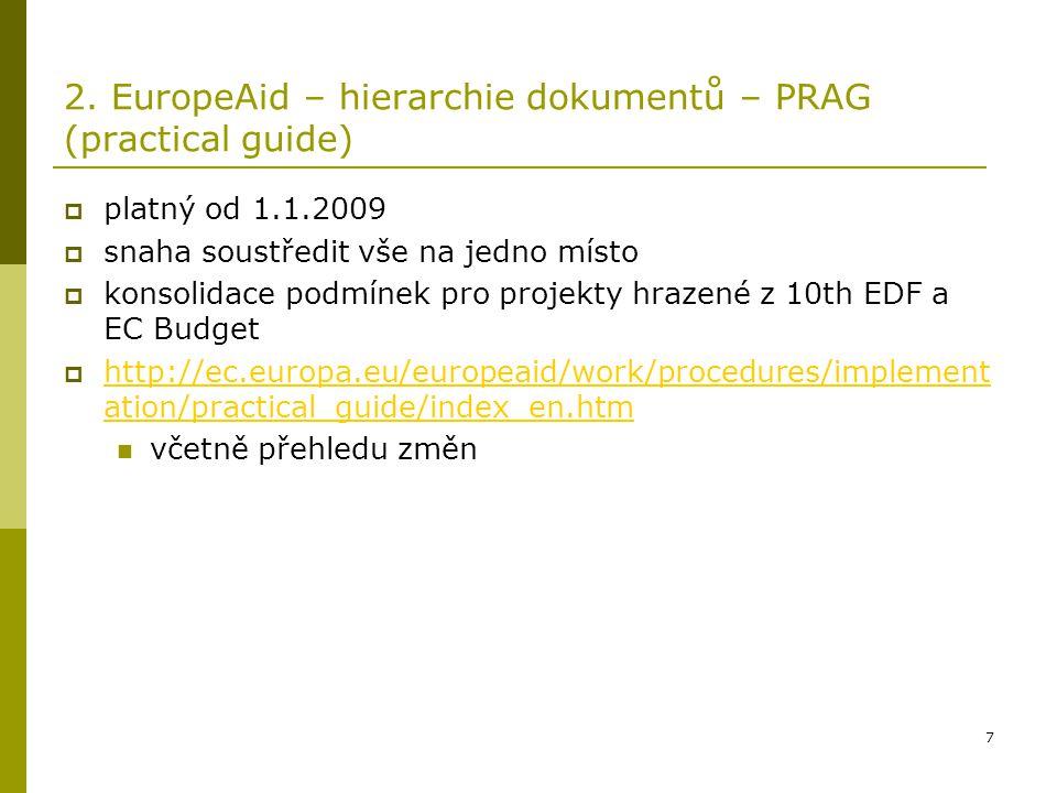 7 2. EuropeAid – hierarchie dokumentů – PRAG (practical guide)  platný od 1.1.2009  snaha soustředit vše na jedno místo  konsolidace podmínek pro p