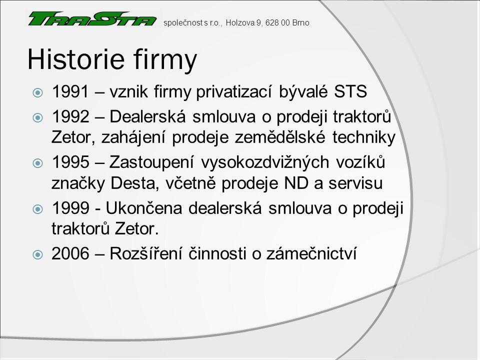 společnost s r.o., Holzova 9, 628 00 Brno Historie firmy  1991 – vznik firmy privatizací bývalé STS  1992 – Dealerská smlouva o prodeji traktorů Zet