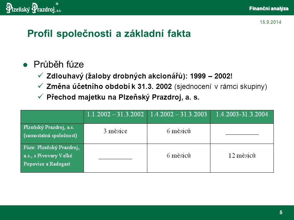 Finanční analýza 6 15.9.2014 Důsledky pro finanční analýzu Abstrahujeme od hodnocení I.Q roku 2002 Nesrovnatelnost absolutních ukazatelů v čase Nárůst bilanční sumy mezi závěrkami k 31.12.2001 a 31.3.2003 – o 40 % Možnost zaměřit se na analýzu vývoje struktury majetku a kapitálu (Vertikální analýza výkazů) zhodnocení přínosu fúze a následné restrukturalizace a její vliv na optimalizaci majetkové a kapitálové struktury Srovnatelnost prostřednictvím poměrových ukazatelů a modelů z nich vycházejících (Bonitní m., Spider analýza)