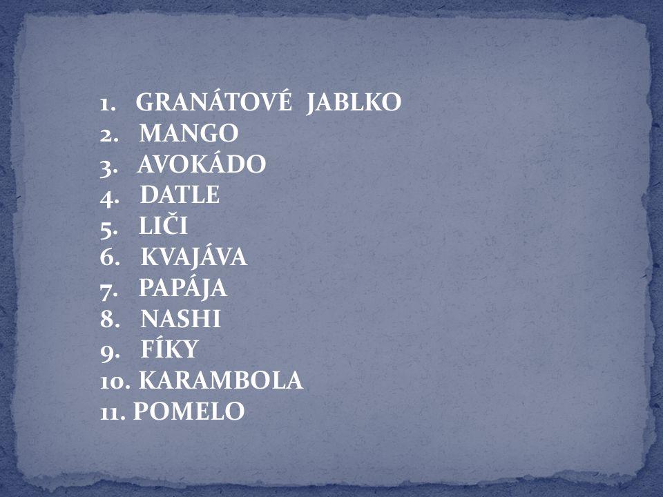 1.GRANÁTOVÉ JABLKO 2. MANGO 3. AVOKÁDO 4. DATLE 5.
