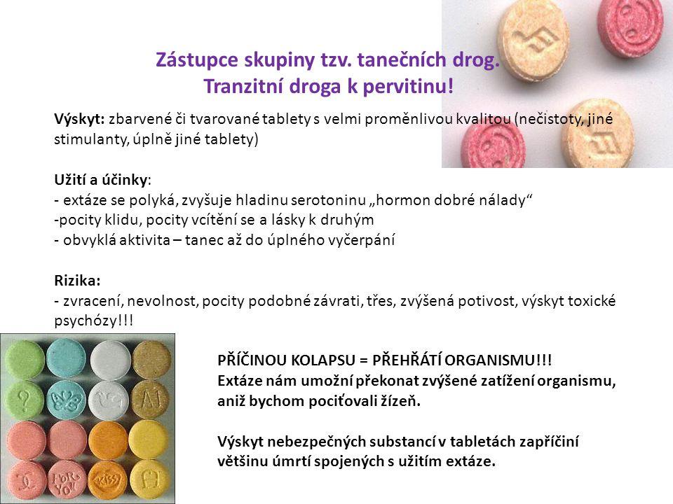 Zástupce skupiny tzv. tanečních drog. Tranzitní droga k pervitinu! Výskyt: zbarvené či tvarované tablety s velmi proměnlivou kvalitou (nečistoty, jiné