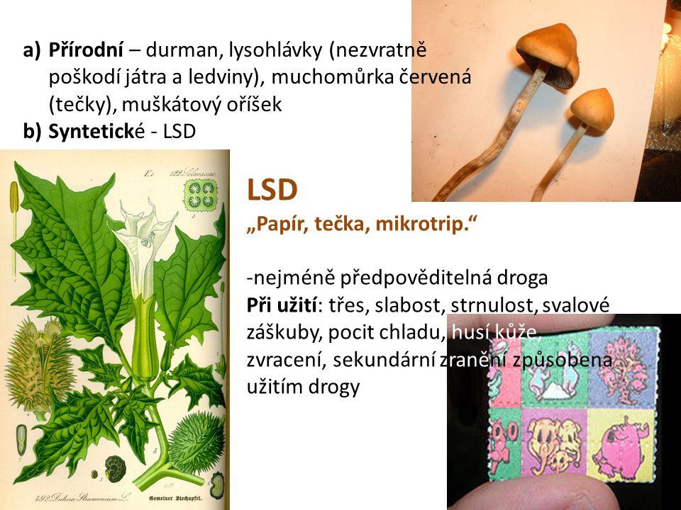 """a)Přírodní – durman, lysohlávky (nezvratně poškodí játra a ledviny), muchomůrka červená (tečky), muškátový oříšek b)Syntetické - LSD LSD """"Papír, tečka"""
