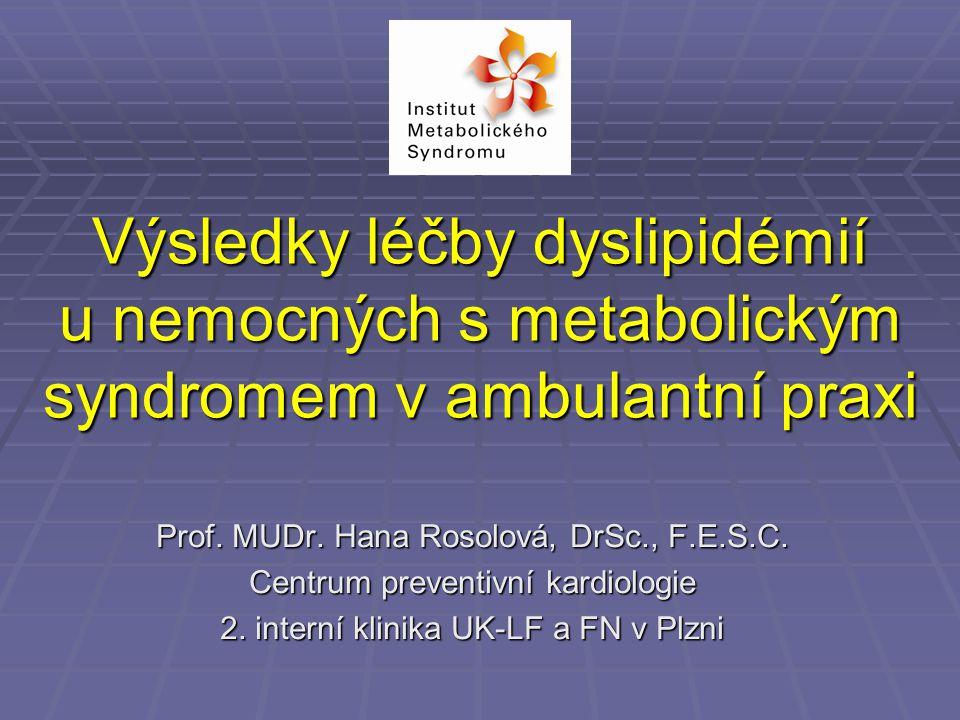 Výsledky léčby dyslipidémií u nemocných s metabolickým syndromem v ambulantní praxi Prof.