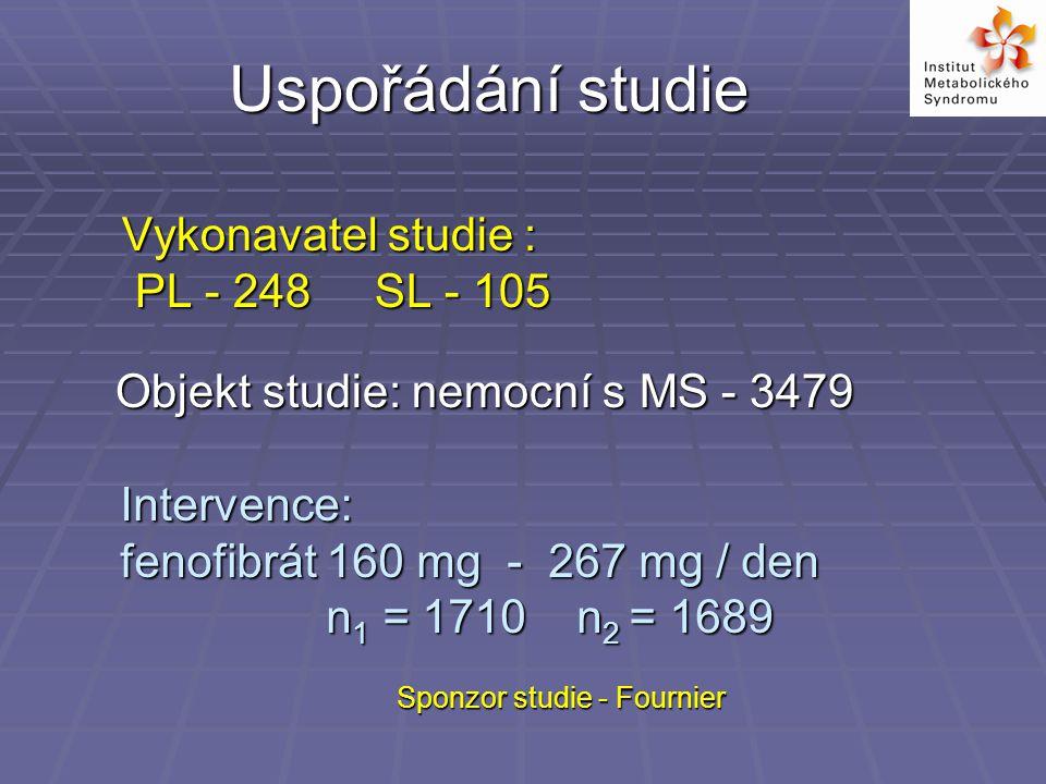 Vykonavatel studie : PL - 248 SL - 105 Uspořádání studie Intervence: fenofibrát 160 mg - 267 mg / den n 1 = 1710 n 2 = 1689 n 1 = 1710 n 2 = 1689 Sponzor studie - Fournier Objekt studie: nemocní s MS - 3479