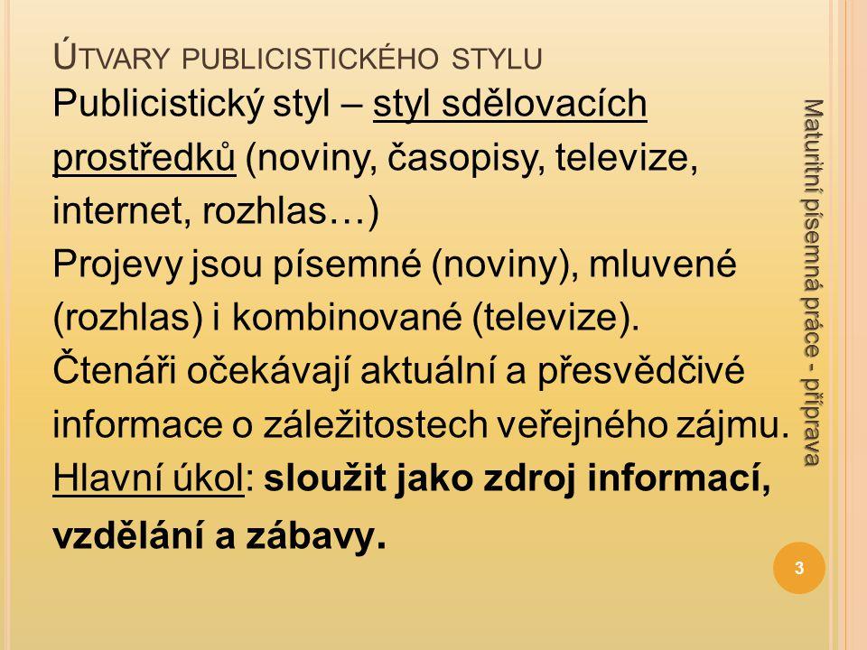 Ú TVARY PUBLICISTICKÉHO STYLU Požadavky stylu: všeobecná srozumitelnost přehlednost přesvědčivost pestrost vyjádření výrazová úspornost jazyková kultivovanost spisovné vyjadřování 4 Maturitní písemná práce - příprava