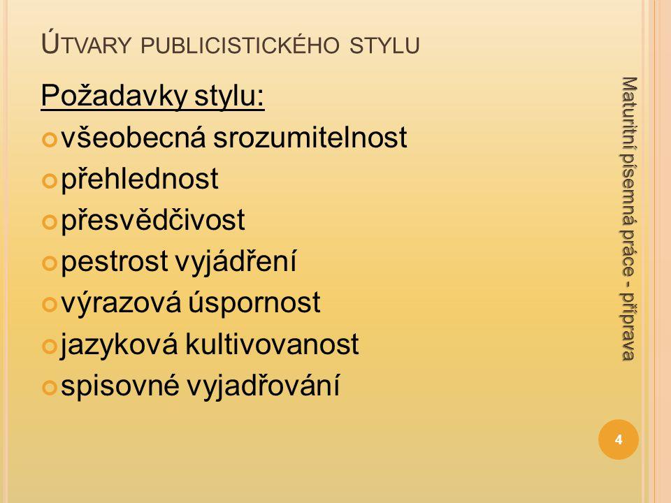 Ú TVARY PUBLICISTICKÉHO STYLU Požadavky stylu: všeobecná srozumitelnost přehlednost přesvědčivost pestrost vyjádření výrazová úspornost jazyková kulti
