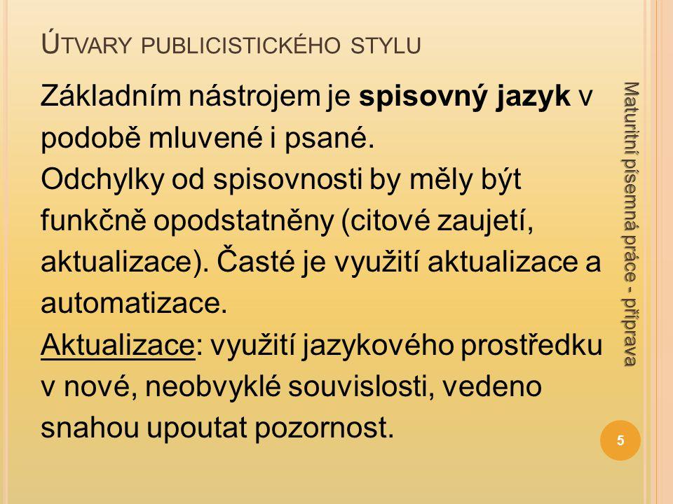 Ú TVARY PUBLICISTICKÉHO STYLU Základním nástrojem je spisovný jazyk v podobě mluvené i psané. Odchylky od spisovnosti by měly být funkčně opodstatněny