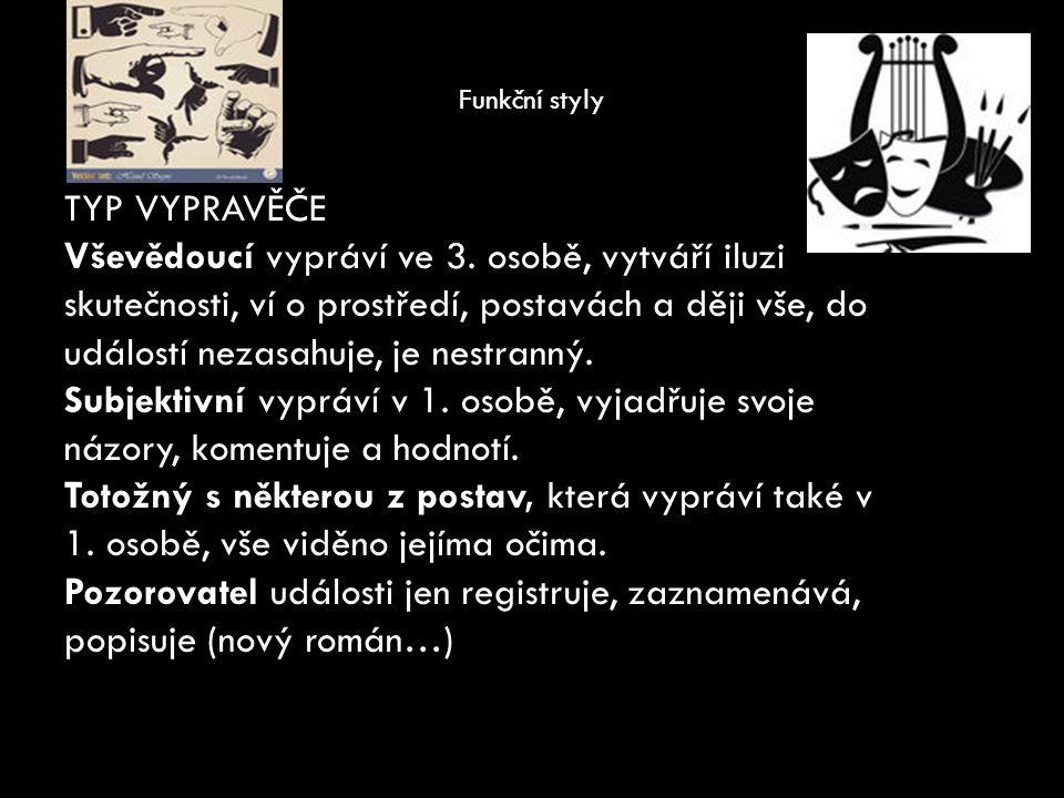 Funkční styly TYP VYPRAVĚČE Vševědoucí vypráví ve 3.