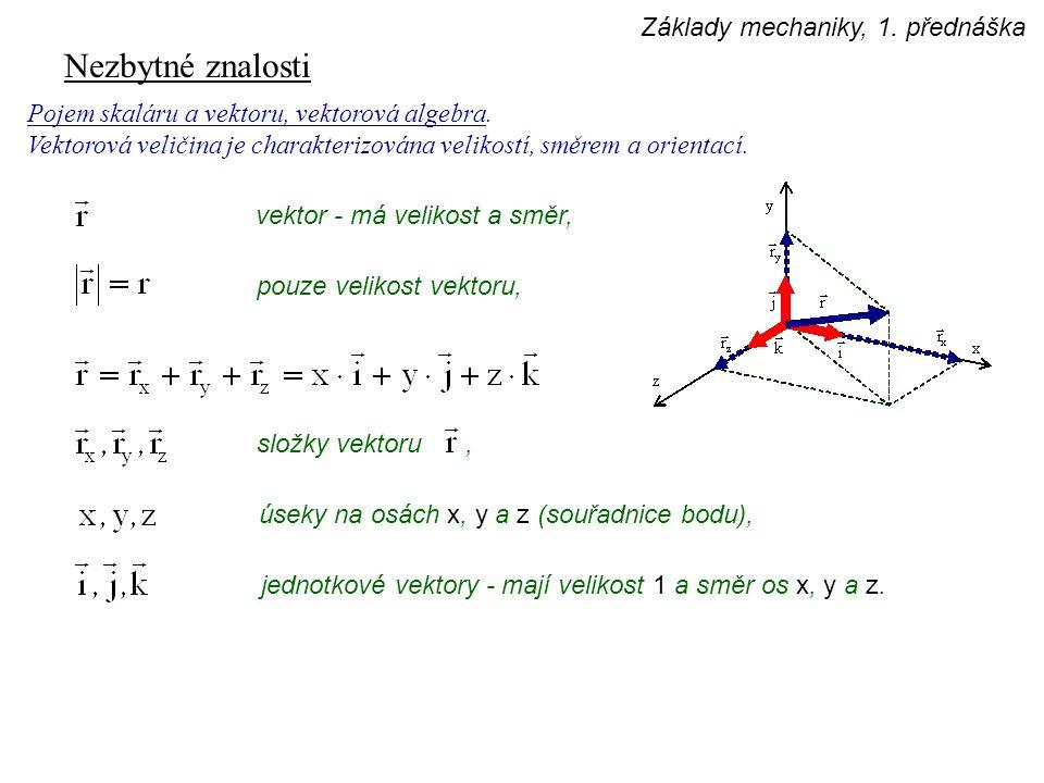 Nezbytné znalosti Pojem skaláru a vektoru, vektorová algebra. Vektorová veličina je charakterizována velikostí, směrem a orientací. vektor - má veliko