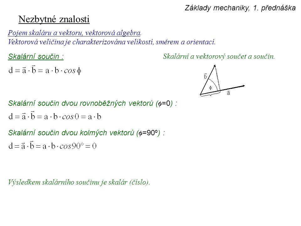 Nezbytné znalosti Pojem skaláru a vektoru, vektorová algebra. Vektorová veličina je charakterizována velikostí, směrem a orientací. Skalární a vektoro