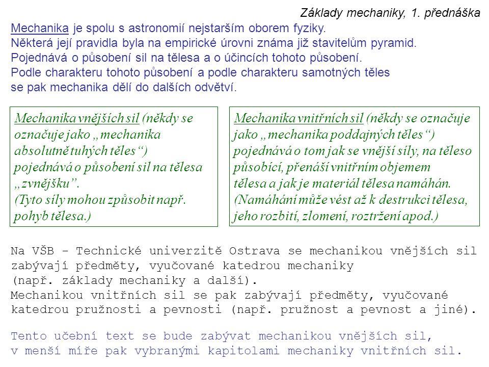 Mechanika je spolu s astronomií nejstarším oborem fyziky. Některá její pravidla byla na empirické úrovni známa již stavitelům pyramid. Pojednává o půs