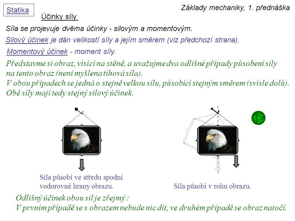 Základy mechaniky, 1. přednáška Statika Účinky síly Síla se projevuje dvěma účinky - silovým a momentovým. Momentový účinek - moment síly. Představme