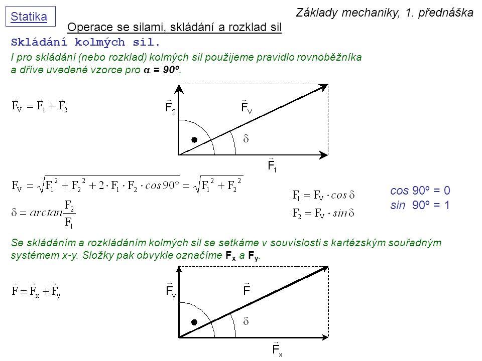 Základy mechaniky, 1. přednáška Statika Operace se silami, skládání a rozklad sil Skládání kolmých sil. I pro skládání (nebo rozklad) kolmých sil použ