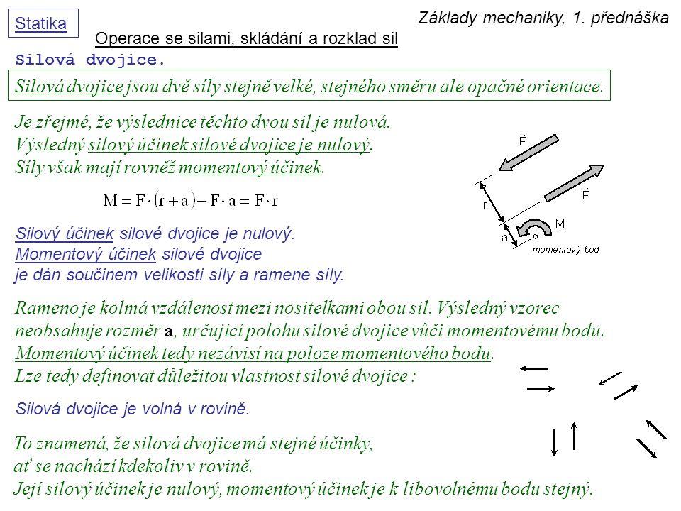 Základy mechaniky, 1. přednáška Statika Silová dvojice. Operace se silami, skládání a rozklad sil Silová dvojice jsou dvě síly stejně velké, stejného