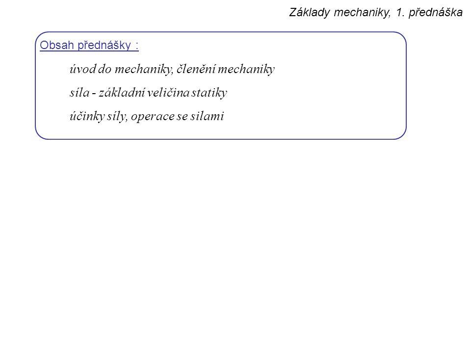 Základy mechaniky, 1. přednáška Obsah přednášky : úvod do mechaniky, členění mechaniky síla - základní veličina statiky účinky síly, operace se silami