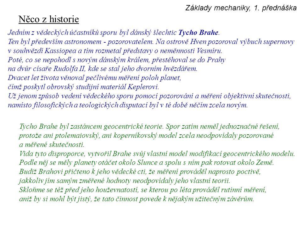 Něco z historie Jedním z vědeckých účastníků sporu byl dánský šlechtic Tycho Brahe. Ten byl především astronomem - pozorovatelem. Na ostrově Hven pozo