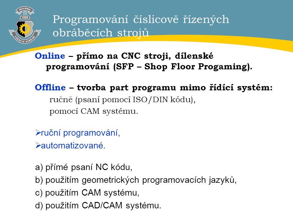2 Programování číslicově řízených obráběcích strojů Online – přímo na CNC stroji, dílenské programování (SFP – Shop Floor Progaming). Offline – tvorba