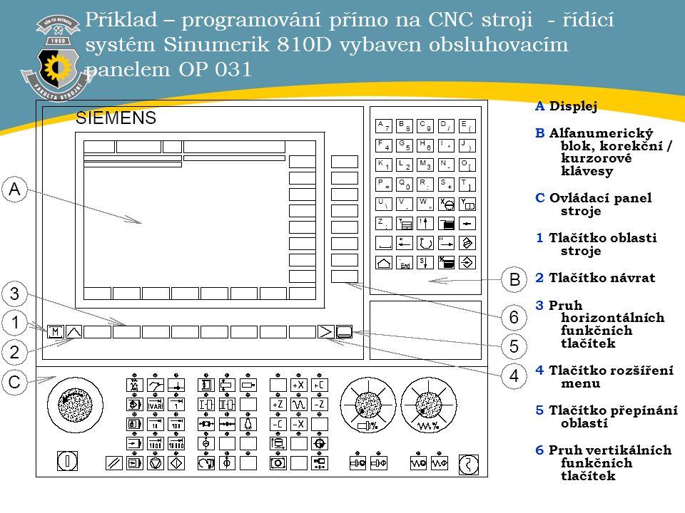 3 Příklad – programování přímo na CNC stroji - řídící systém Sinumerik 810D vybaven obsluhovacím panelem OP 031 A Displej B Alfanumerický blok, korekč