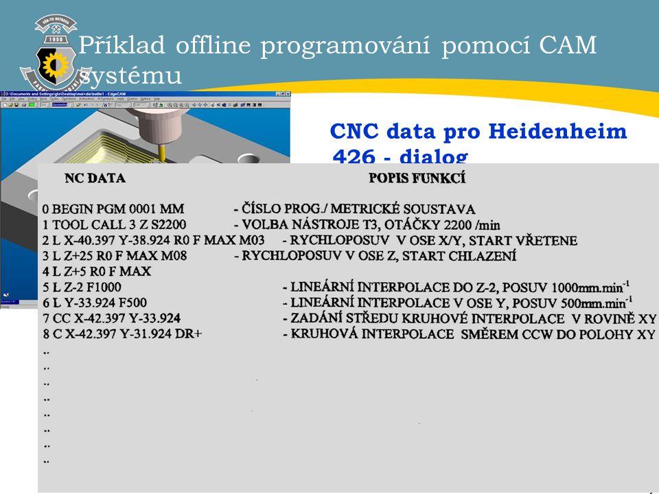 7 Příklad offline programování pomocí CAM systému CNC data pro Heidenheim 426 - dialog