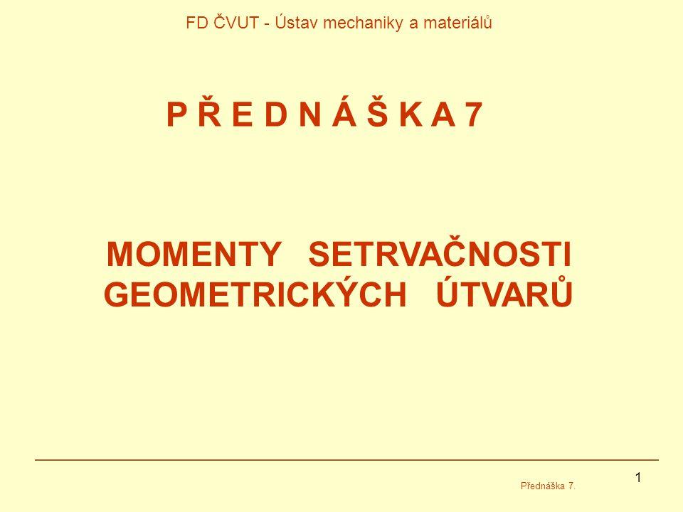 1 FD ČVUT - Ústav mechaniky a materiálů Přednáška 7.