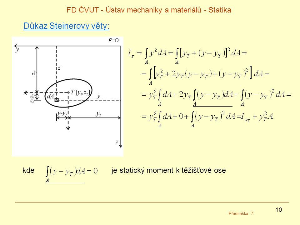 10 FD ČVUT - Ústav mechaniky a materiálů - Statika Přednáška 7.