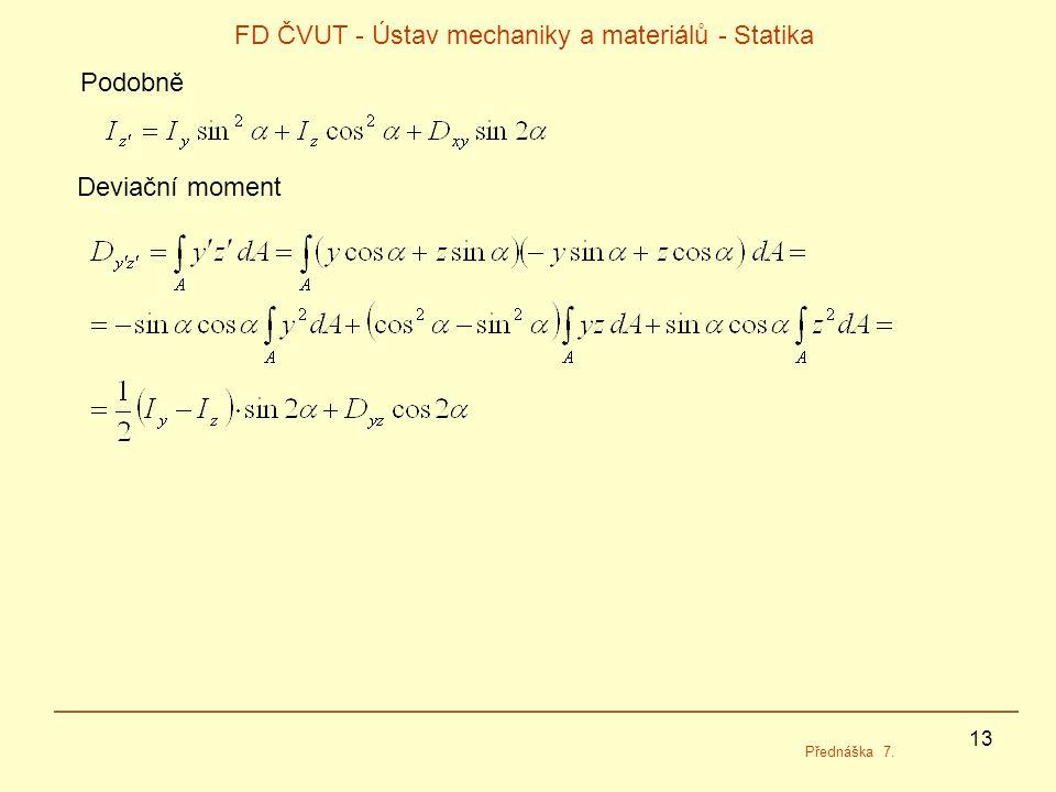13 FD ČVUT - Ústav mechaniky a materiálů - Statika Přednáška 7. Podobně Deviační moment