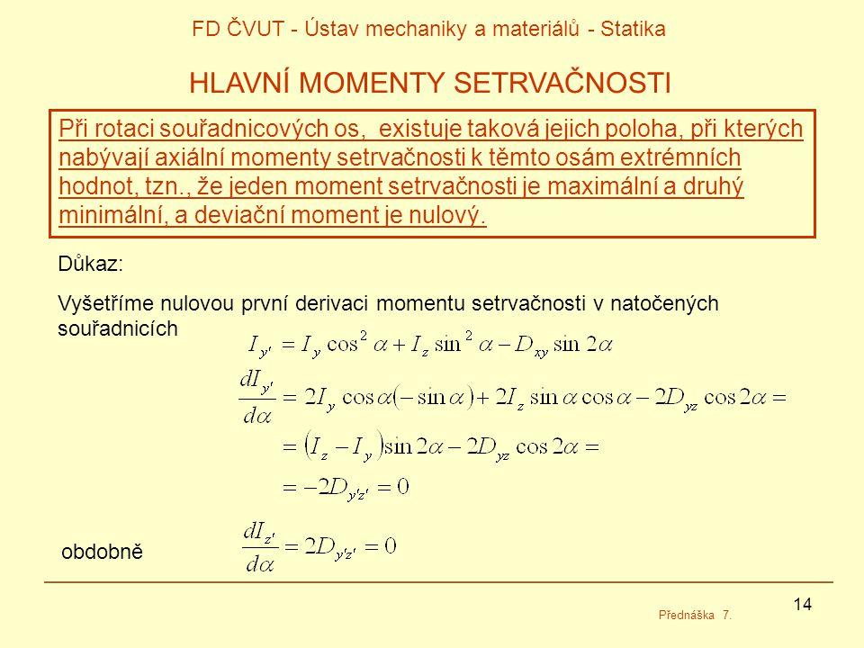 14 FD ČVUT - Ústav mechaniky a materiálů - Statika Přednáška 7.