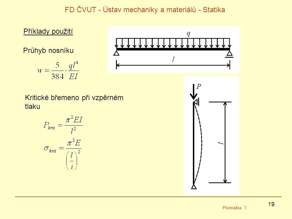 19 FD ČVUT - Ústav mechaniky a materiálů - Statika Přednáška 7.