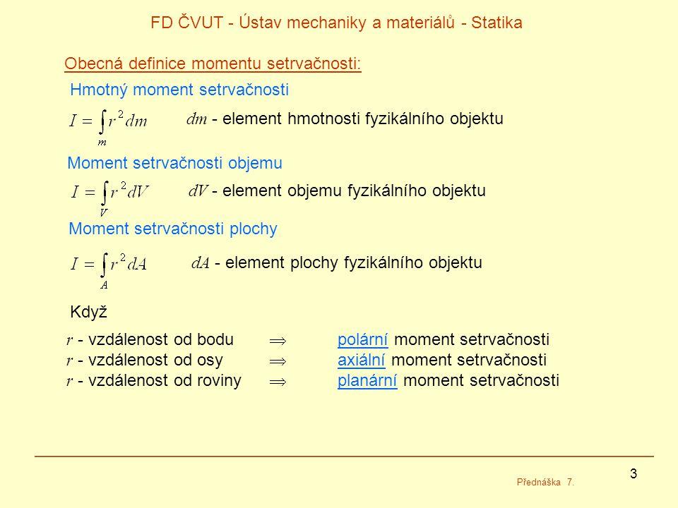 3 FD ČVUT - Ústav mechaniky a materiálů - Statika Přednáška 7.
