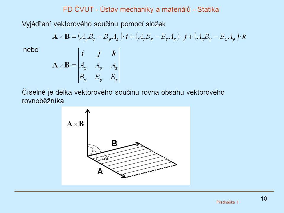 10 FD ČVUT - Ústav mechaniky a materiálů - Statika Přednáška 1. Vyjádření vektorového součinu pomocí složek nebo Číselně je délka vektorového součinu