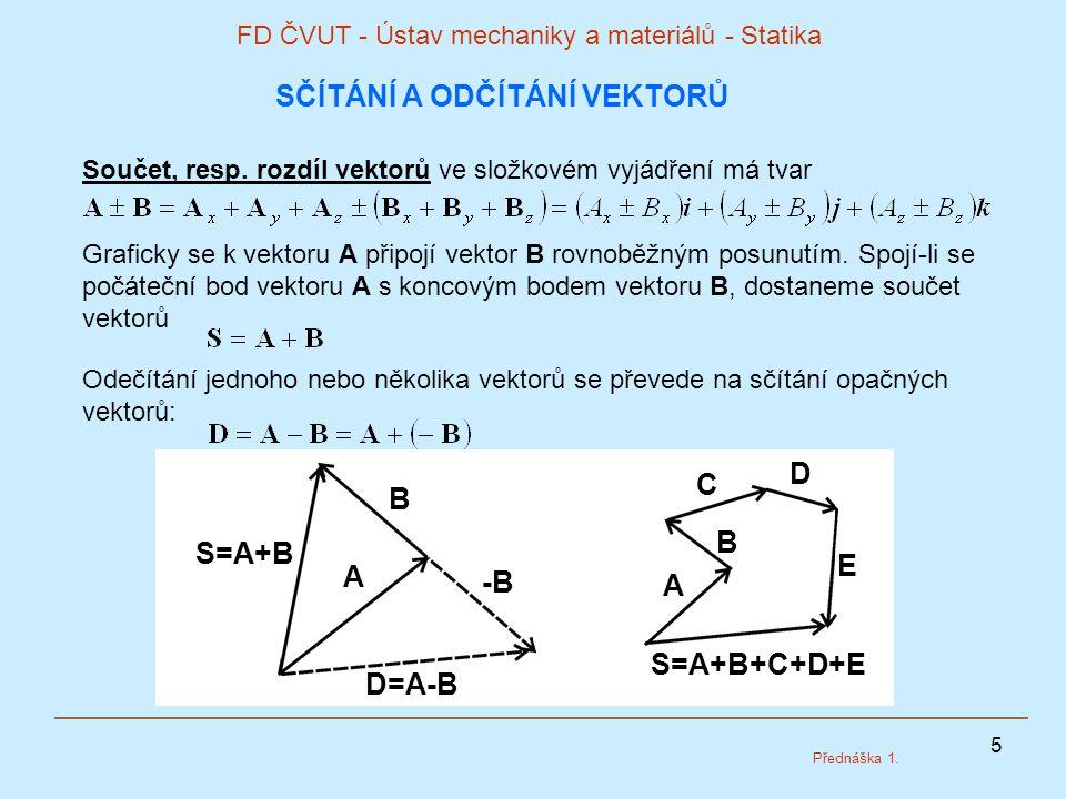 5 FD ČVUT - Ústav mechaniky a materiálů - Statika Přednáška 1. SČÍTÁNÍ A ODČÍTÁNÍ VEKTORŮ Součet, resp. rozdíl vektorů ve složkovém vyjádření má tvar