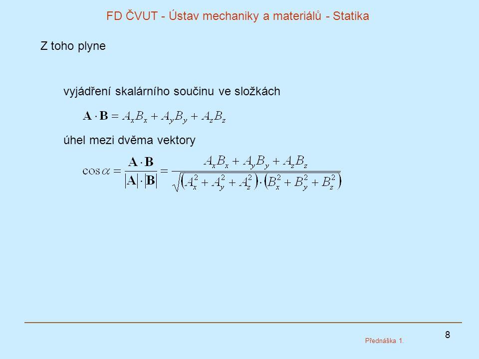 8 FD ČVUT - Ústav mechaniky a materiálů - Statika Přednáška 1. Z toho plyne úhel mezi dvěma vektory vyjádření skalárního součinu ve složkách