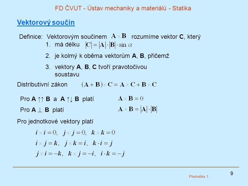 9 FD ČVUT - Ústav mechaniky a materiálů - Statika Přednáška 1. Vektorový součin Definice: Vektorovým součinem rozumíme vektor C, který 1.má délku 2.je