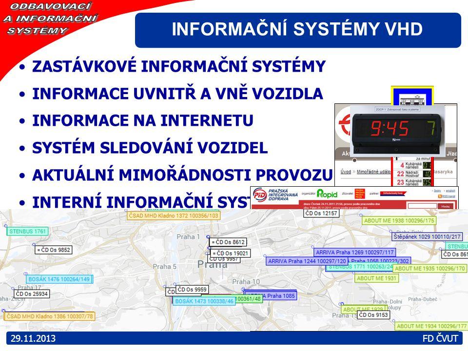 ZASTÁVKOVÉ INFORMAČNÍ SYSTÉMY INFORMACE UVNITŘ A VNĚ VOZIDLA INFORMACE NA INTERNETU SYSTÉM SLEDOVÁNÍ VOZIDEL AKTUÁLNÍ MIMOŘÁDNOSTI PROVOZU INTERNÍ INF