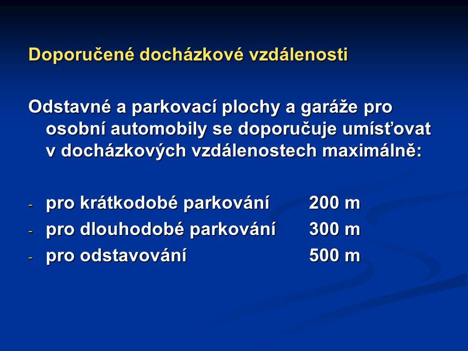 Doporučené docházkové vzdálenosti Odstavné a parkovací plochy a garáže pro osobní automobily se doporučuje umísťovat v docházkových vzdálenostech maxi