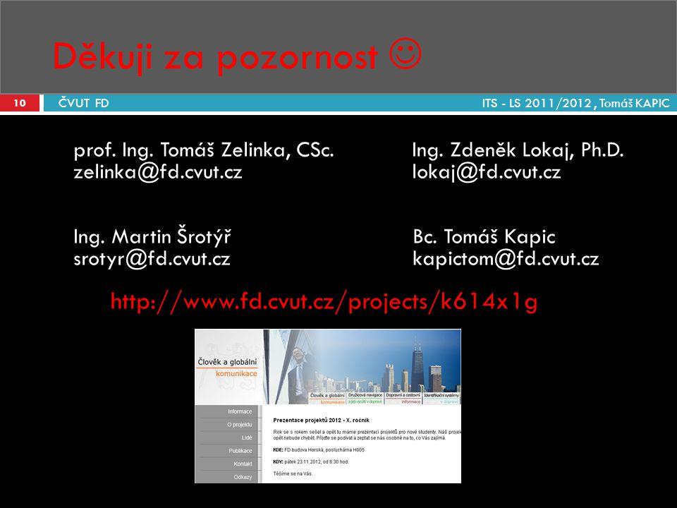 Děkuji za pozornost ITS - LS 2011/2012, Tomáš KAPIC 10 ČVUT FD prof. Ing. Tomáš Zelinka, CSc.Ing. Zdeněk Lokaj, Ph.D. zelinka@fd.cvut.czlokaj@fd.cvut.