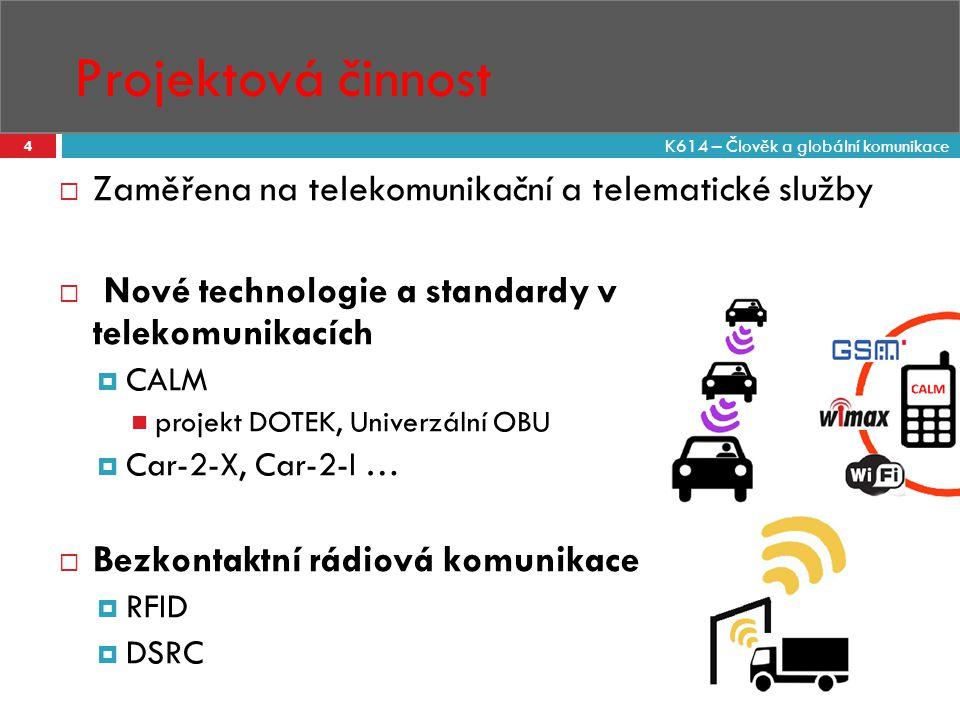 Projektová činnost 4  Zaměřena na telekomunikační a telematické služby  Nové technologie a standardy v telekomunikacích  CALM projekt DOTEK, Univer