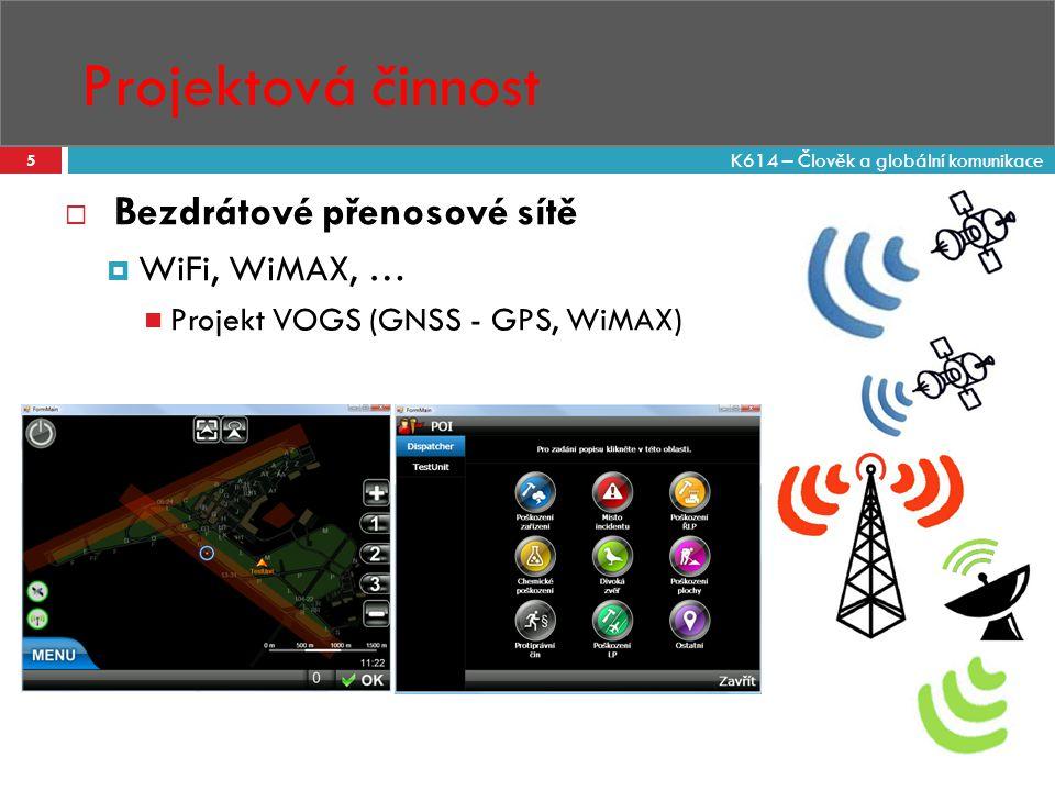 Projektová činnost 5  Bezdrátové přenosové sítě  WiFi, WiMAX, … Projekt VOGS (GNSS - GPS, WiMAX) K614 – Člověk a globální komunikace