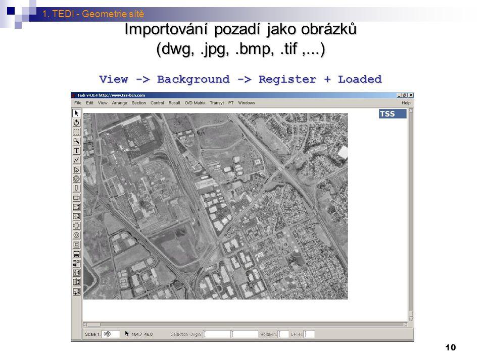 10 Importování pozadí jako obrázků (dwg,.jpg,.bmp,.tif,...) View -> Background -> Register + Loaded 1. TEDI - Geometrie sítě