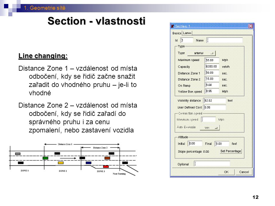 12 Section - vlastnosti Line changing: Distance Zone 1 – vzdálenost od místa odbočení, kdy se řidič začne snažit zařadit do vhodného pruhu – je-li to