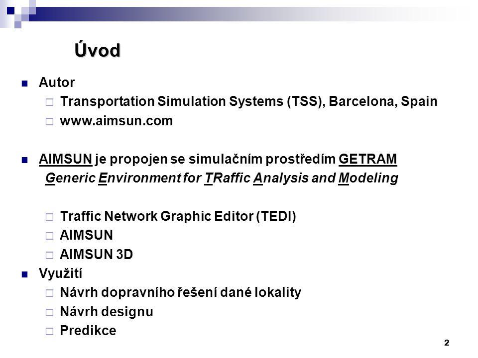 2 Úvod Úvod Autor  Transportation Simulation Systems (TSS), Barcelona, Spain  www.aimsun.com AIMSUN je propojen se simulačním prostředím GETRAM Gene