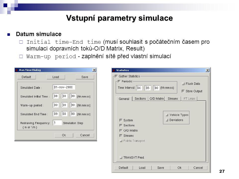 27 Vstupní parametry simulace Datum simulace  Initial time-End time (musí souhlasit s počátečním časem pro simulaci dopravních toků-O/D Matrix, Resul
