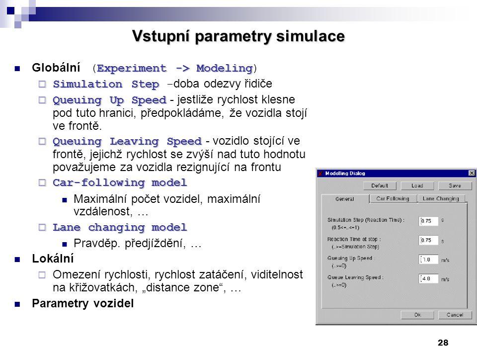 28 Vstupní parametry simulace Experiment -> Modeling Globální (Experiment -> Modeling)  Simulation Step  Simulation Step - doba odezvy řidiče  Queu