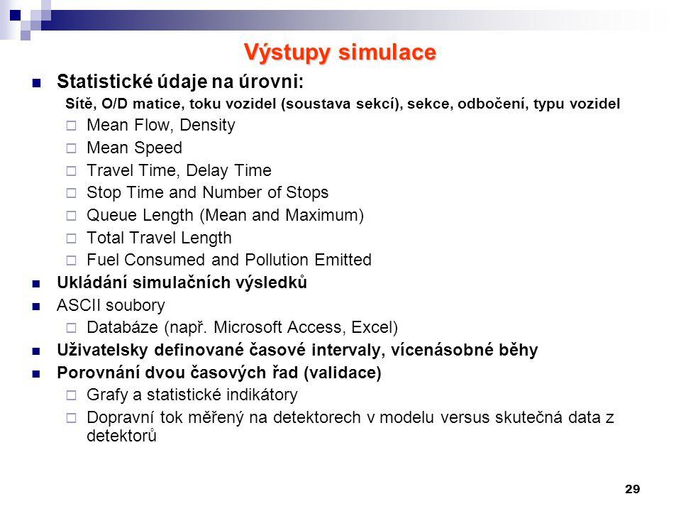 29 Výstupy simulace Statistické údaje na úrovni: Sítě, O/D matice, toku vozidel (soustava sekcí), sekce, odbočení, typu vozidel  Mean Flow, Density 