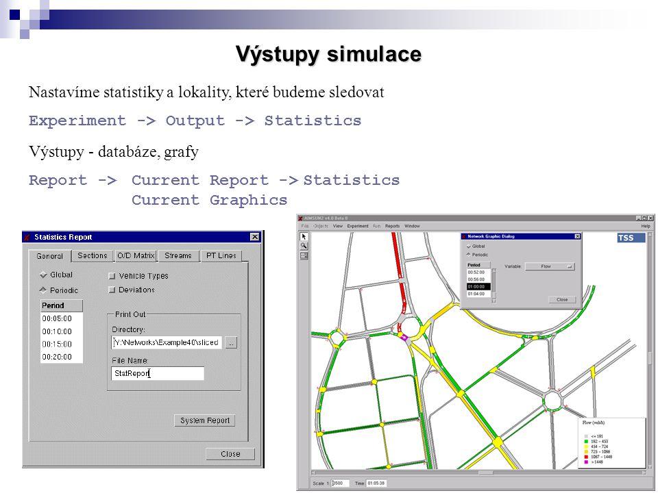 30 Výstupy simulace Nastavíme statistiky a lokality, které budeme sledovat Experiment -> Output -> Statistics Výstupy - databáze, grafy Report ->Curre